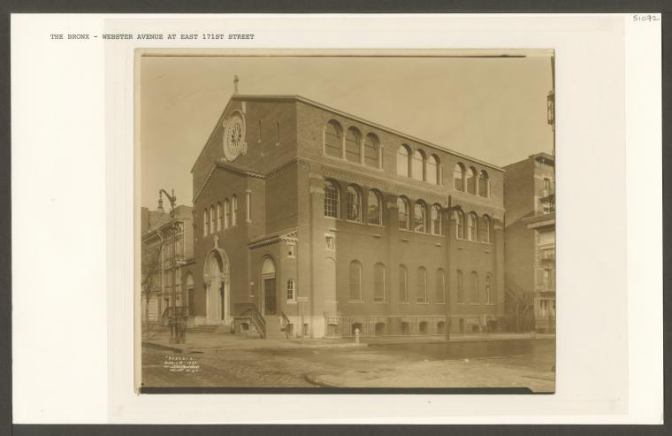 The Our Lady of Victory Church building on 1512 Webster Avenue, circa 1880s. (Image from the NYPL online archive)