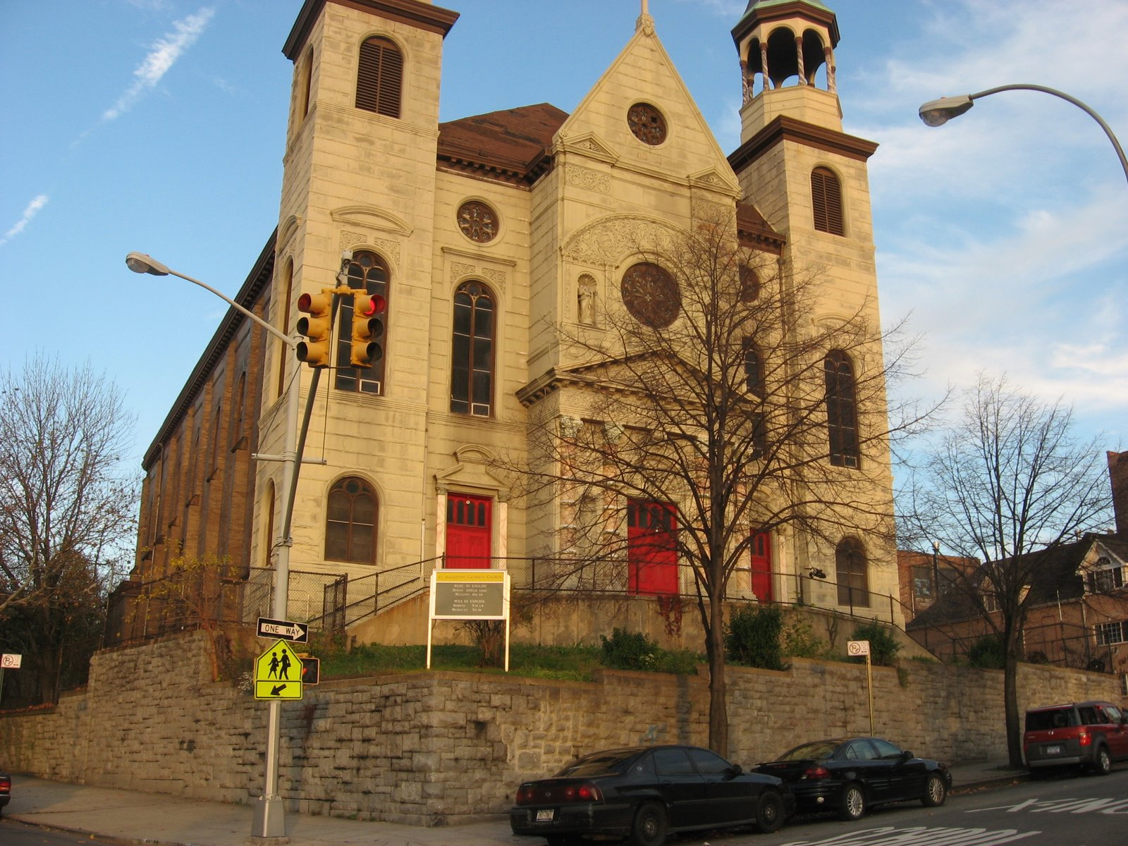 A more recent of Saint Augustine Church, pre-demolition, circa 2010s. (Image from the BronxCatholic blog)