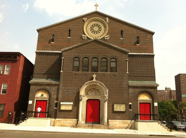 A recent photo of Our Lady of Victory Church (1512 Webster Avenue), which was built in 1909, and is where both congregations meet after Saint Augustine's demolition. (Image from the Saint Augustine – Our Lady of Victory website)