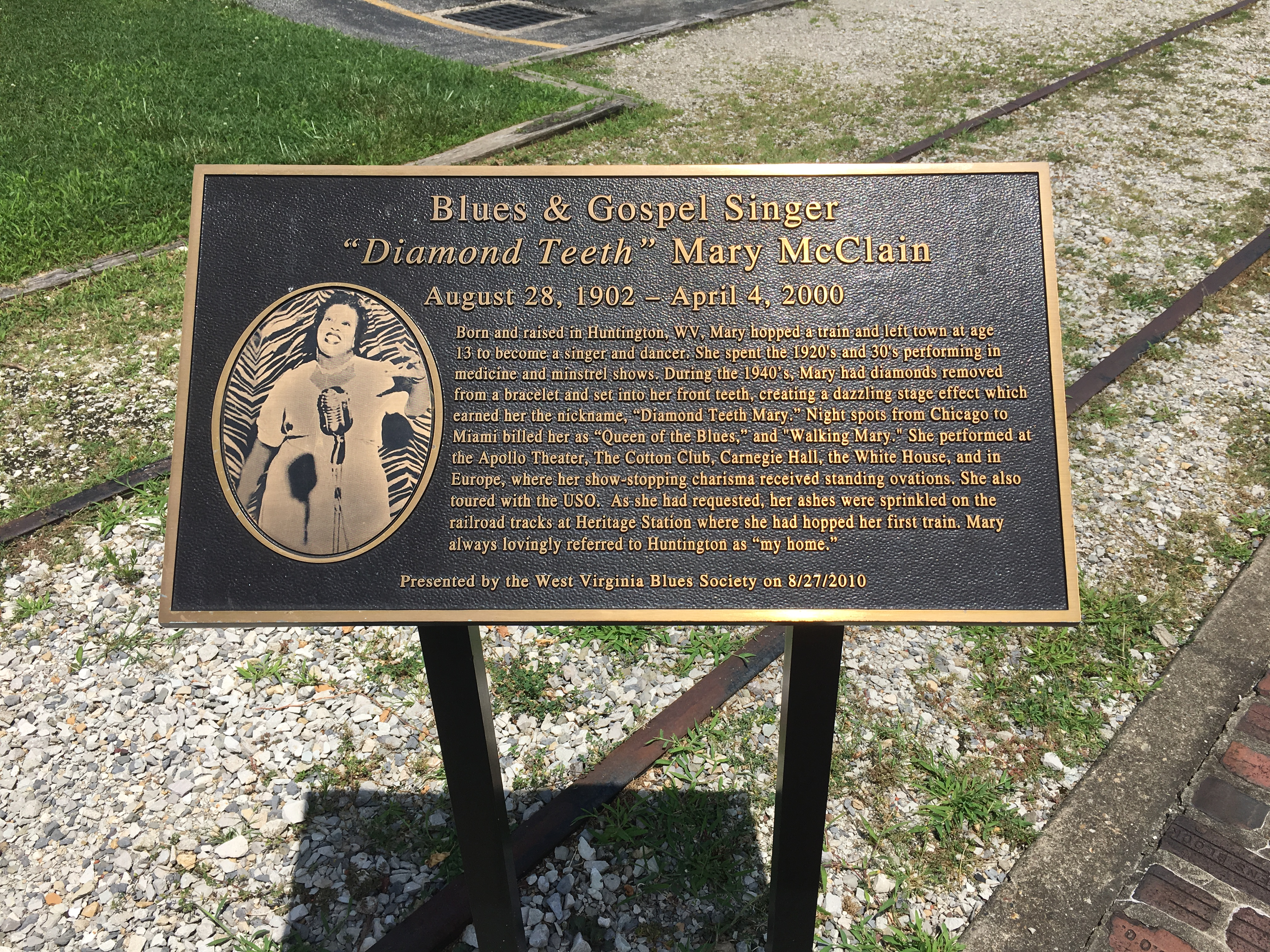 """Another marker commemorates blues and gospel singer """"Diamond Teeth"""" Mary."""