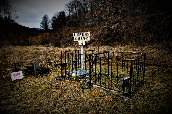 The fence and headstone were added in 1986 by the Pickens Improvement and Historical Society