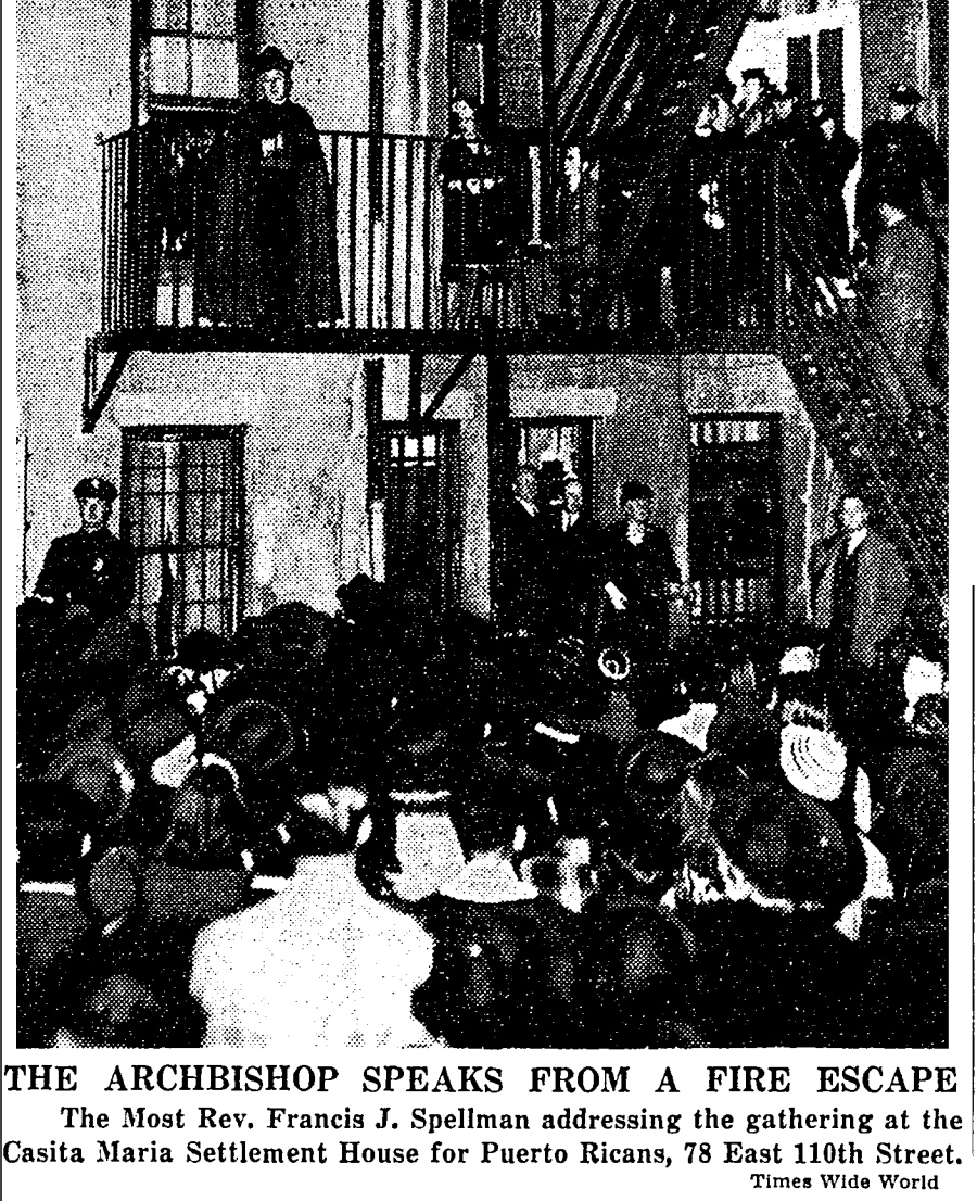 """Archbishop Spellman addressing a crowd, 78 E. 110th Street (image: Wide W. """"OPEN HOUSE HELD BY CASITA MARIA."""" New York Times, Nov 20 1939, p. 16)"""