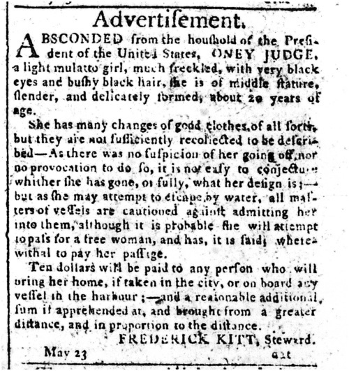 Advertisement for the return of Ona Judge published in the Pennsylvania Gazette, May 24, 1796, courtesy Library of Congress.