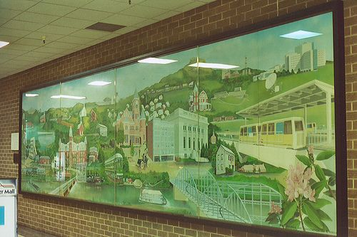 Monongalia County Historical Mural in the Mountaineer Mall created by the MAA