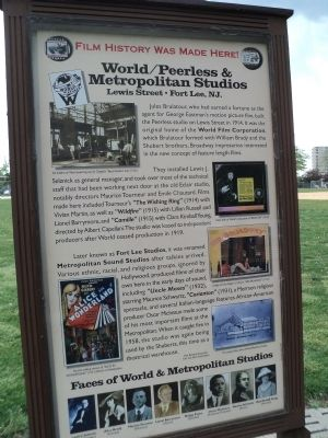 A marker in Constitution Park in Fort Lee for the World/Peerless & Metropolitan Studios. Photo by Bill Coughlin.