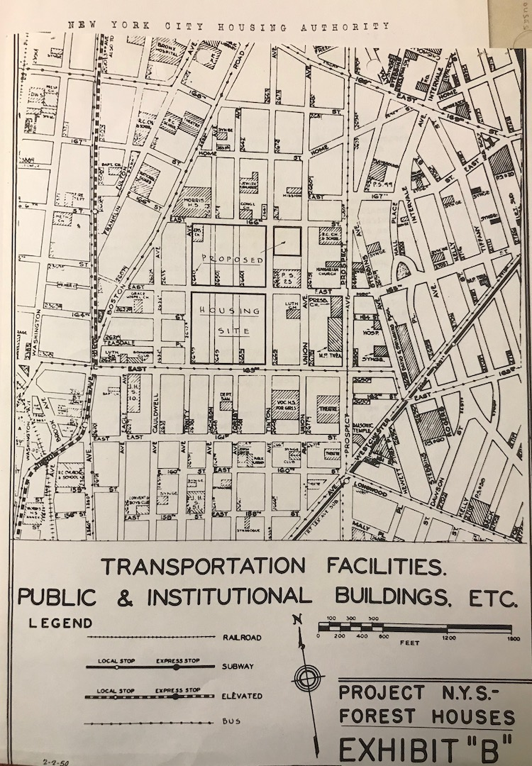 A map of the proposed site of the Forest Houses development. Two avenues, Jackson and Forest, were bulldozed and planned over to create the superblocks where Forest Hoses is located. (Image from Wagner and Laguardia Archives)