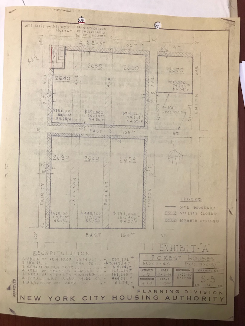 A blueprint that shows the proposed plan to widen the streets surrounding Forest Houses. In the original plans, Trinity Episcopal Church was to be demolished and moved to a different location.