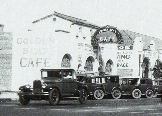 The Golden Bear Cafe near the intersection of Main Street and Ocean Boulevard (Pacific Coast Highway), circa 1930s.