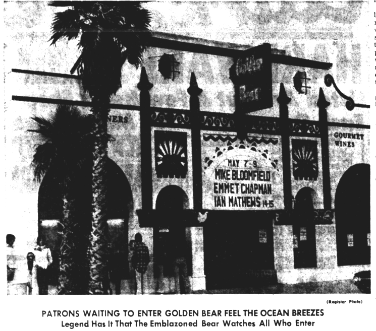 Patrons waiting to enter Golden Bear feel the ocean breezes. Legend has it that the emblazoned bear watches all who enter. Source: Santa Ana Register, July 8, 1976