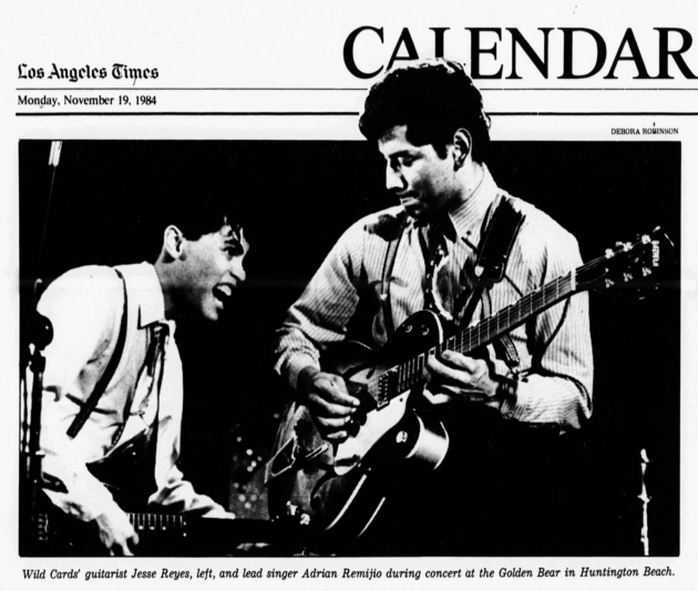Local band, the Wild Cards performed at the Golden Bear in 1984 and opened for Los Lobos that same year. Source: Los Angeles Times, November 19, 1984