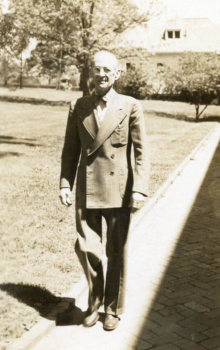 Edward Houston Wills, for whom Wills Hall was named, walking in 1946, not long before he died.