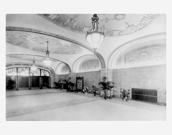 The ornate lobby in the 1920s
