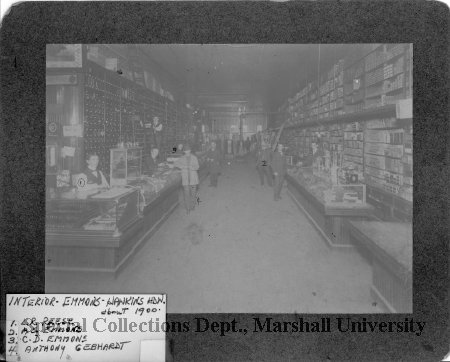 Interior of the hardware store, circa 1900