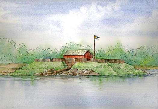 A rendering of what Fort Christina may have looked like