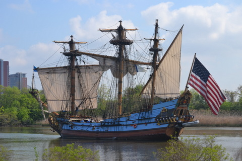 A replica of the Kalmar Nyckel docked at Fort Christina