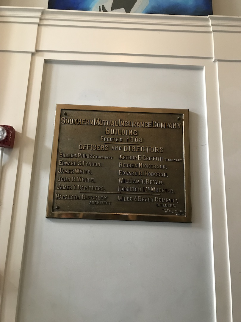 Plaque located inside the lobby of the Commerce Building.