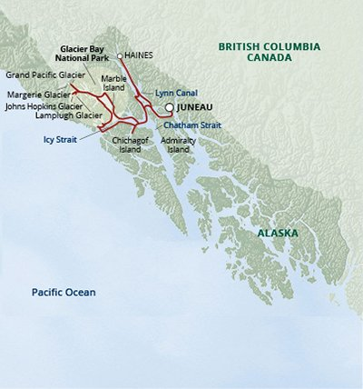 Glacier Bay National Park map (photo credit: uncruise adventures at https://www.uncruise.com/destinations/alaska-cruises/glacier-bay-national-park-adventure-cruise)