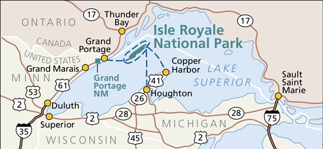 Isle Royale National Park map (photo credit: NPS at https://www.nps.gov/isro/planyourvisit/directions.htm)