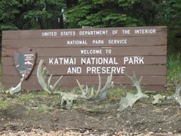 Katmai National Park and Preserve sign (photo credit: NPS at https://www.nps.gov/katm/planyourvisit/fees.htm)