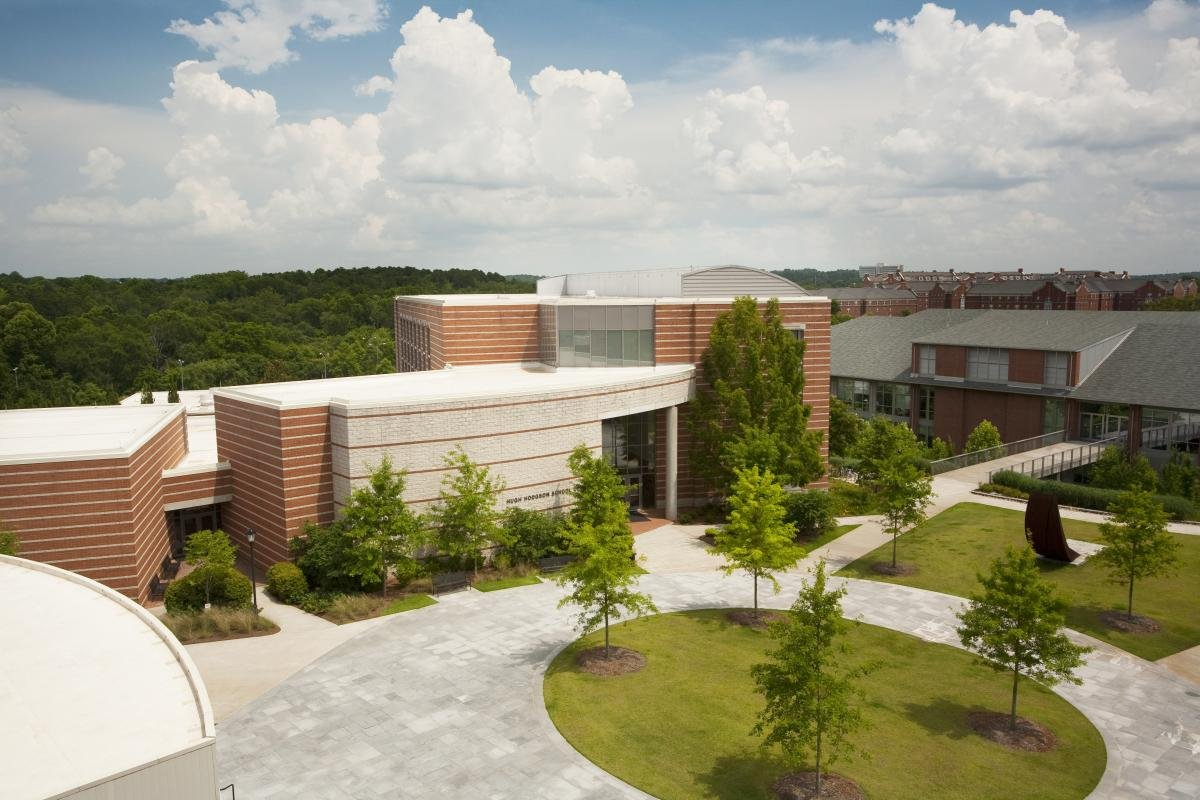 Overhead view of the performing and visual arts quadrant, which is made up of the UGA Performing Arts Center, the Hugh Hodgson School of Music, the Lamar Dodd School of Art, and the Georgia Museum of Art