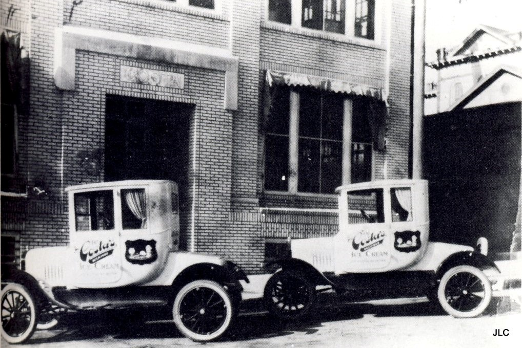 "The facade of Costa's Ice Cream factory on East Washington Street with company cars, photo courtesy of ""Growing up in Athens GA,"" Facebook."
