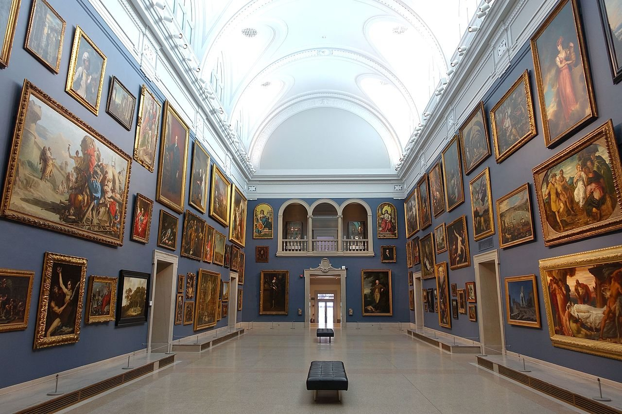 The Morgan Great Hall, hung with paintings from the European collection.