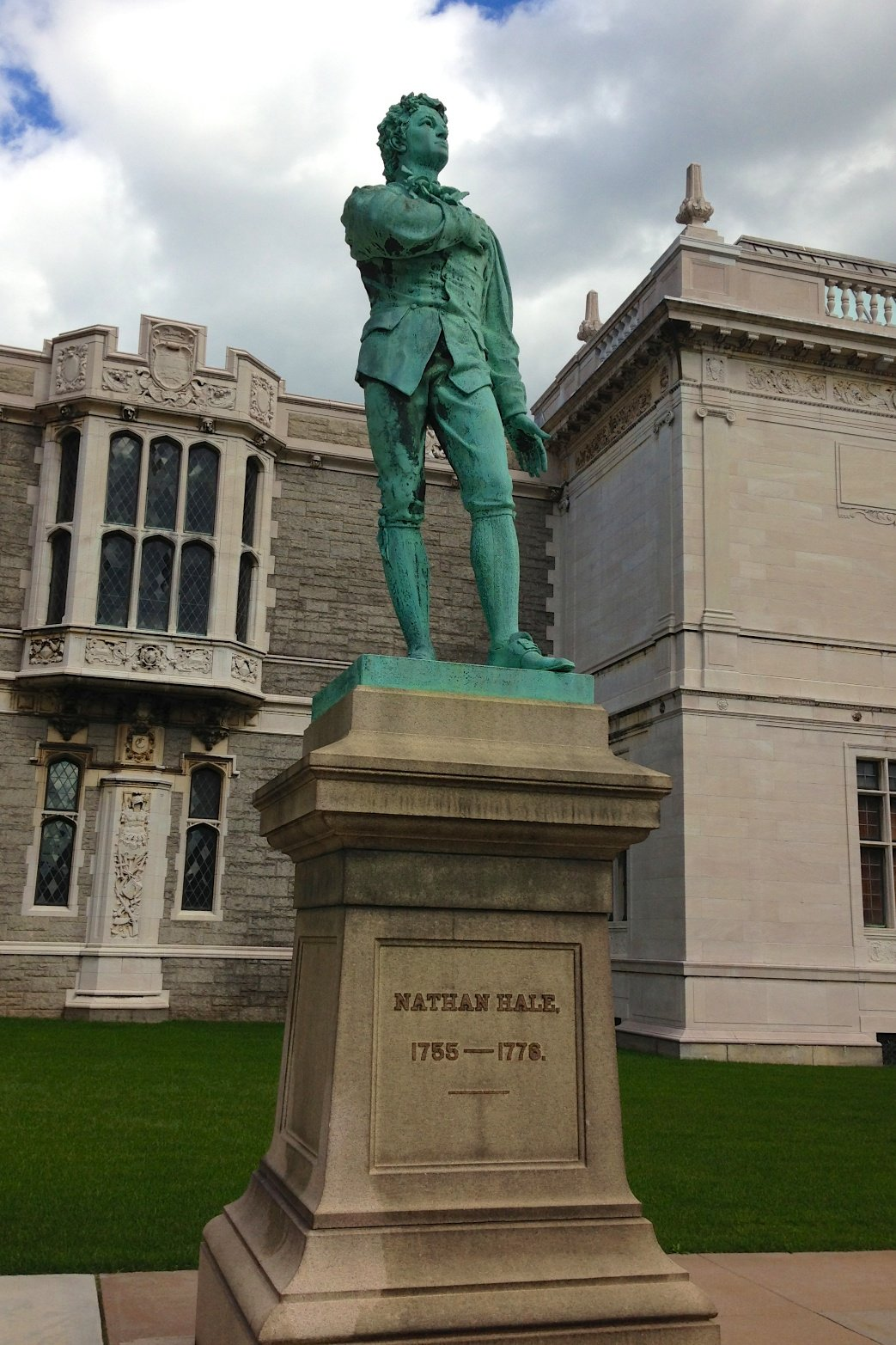 Statue of Nathan Hale outside the Atheneum.