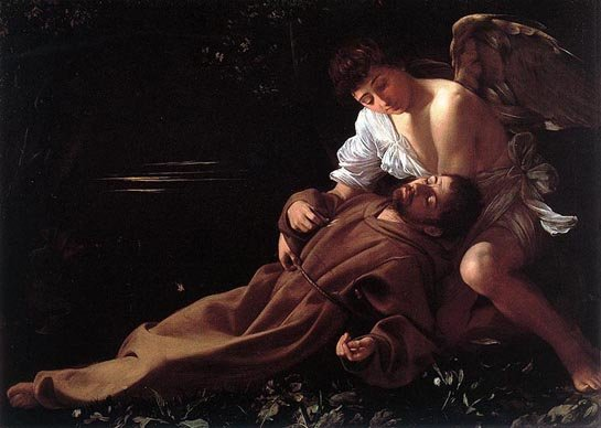 "Caravaggio's ""St. Francis in Ecstasy"" from the Wadsworth Atheneum's collection."