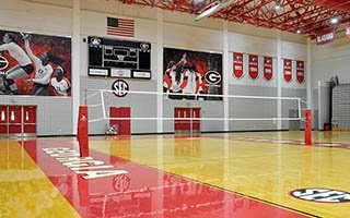 The volleyball arena inside the Ramsey Center