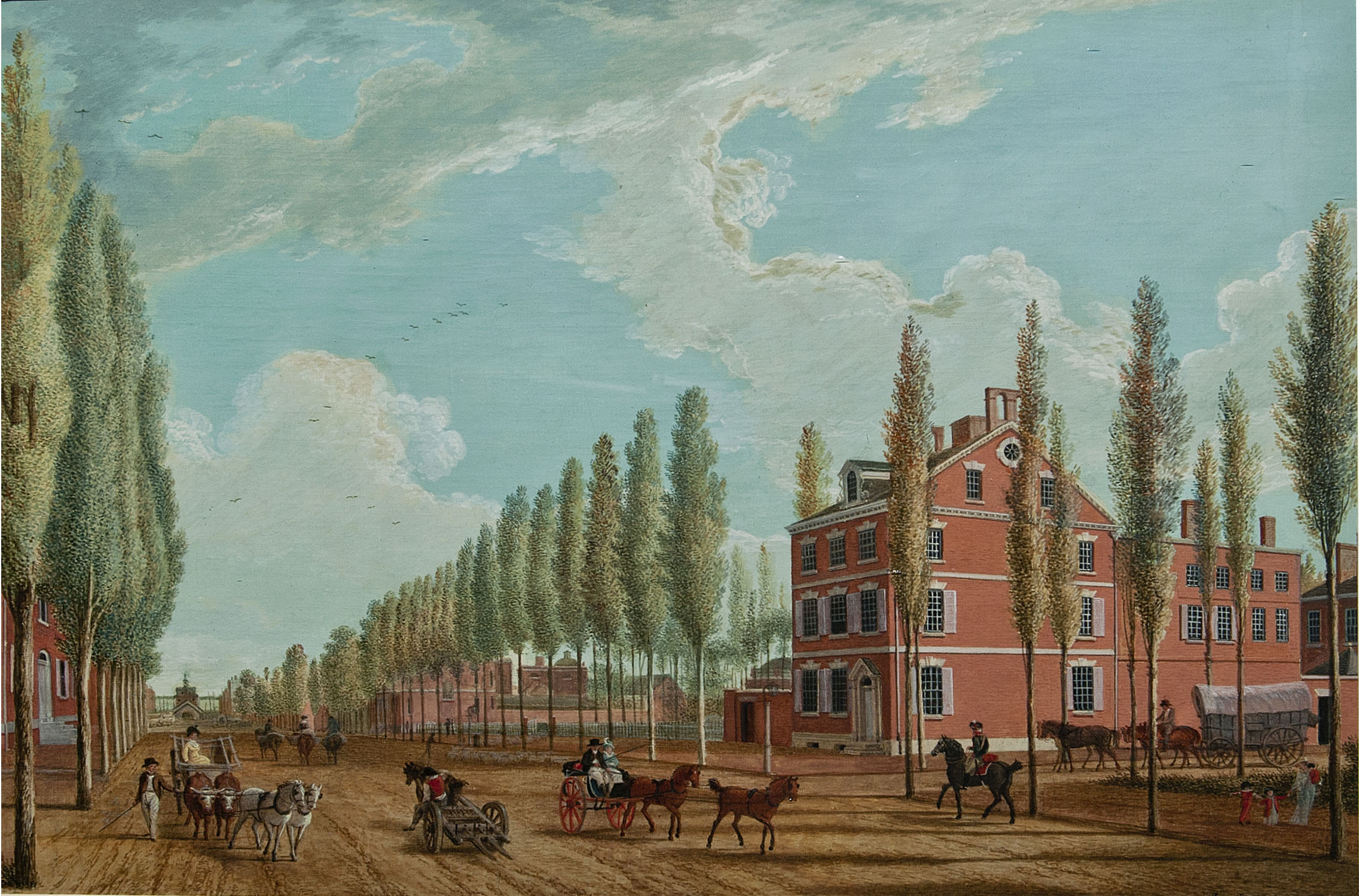 Painting of Dunlap House by Jon James Barralet, 1807