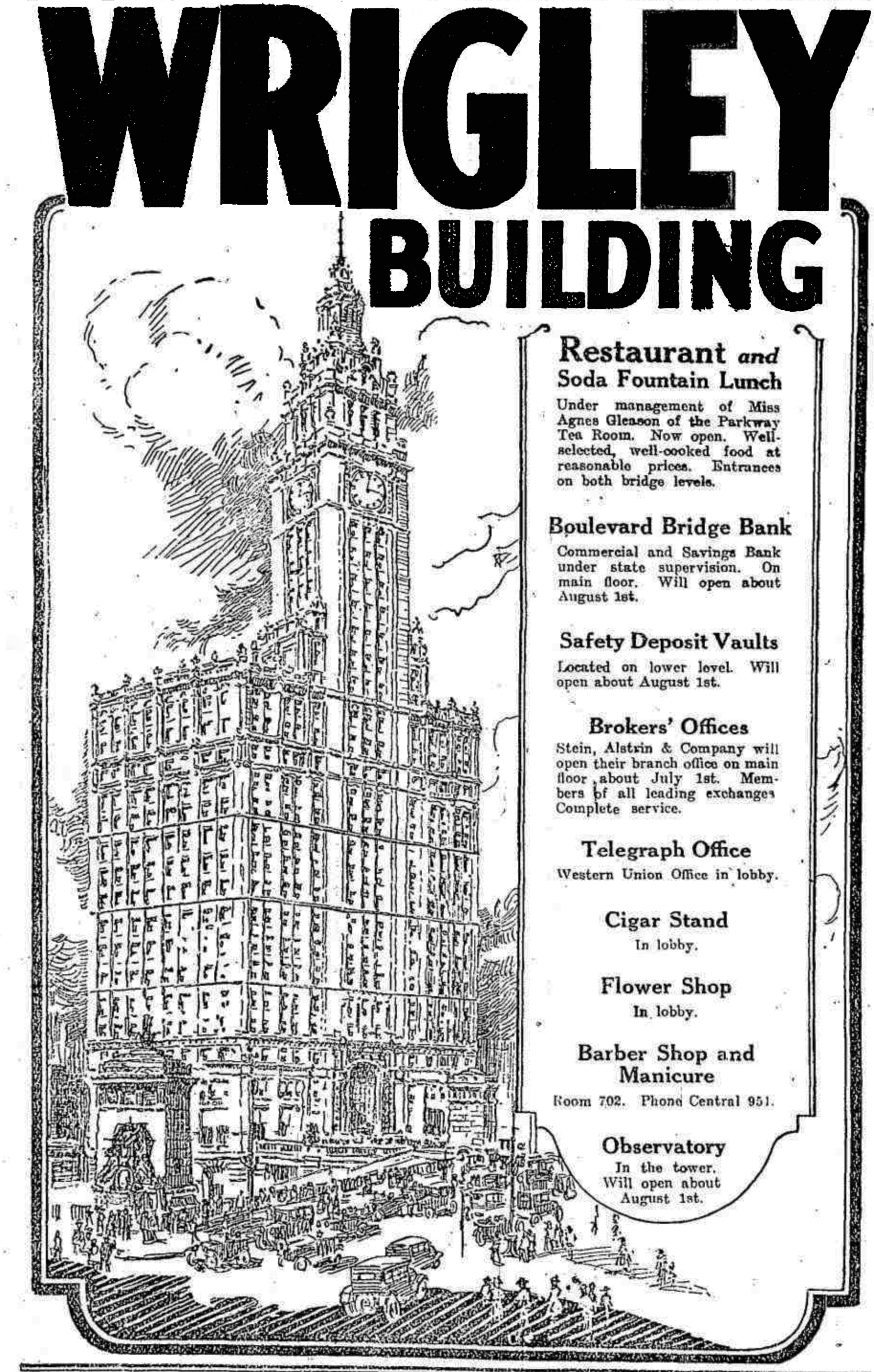 1921 advertisement for the Wrigley Building