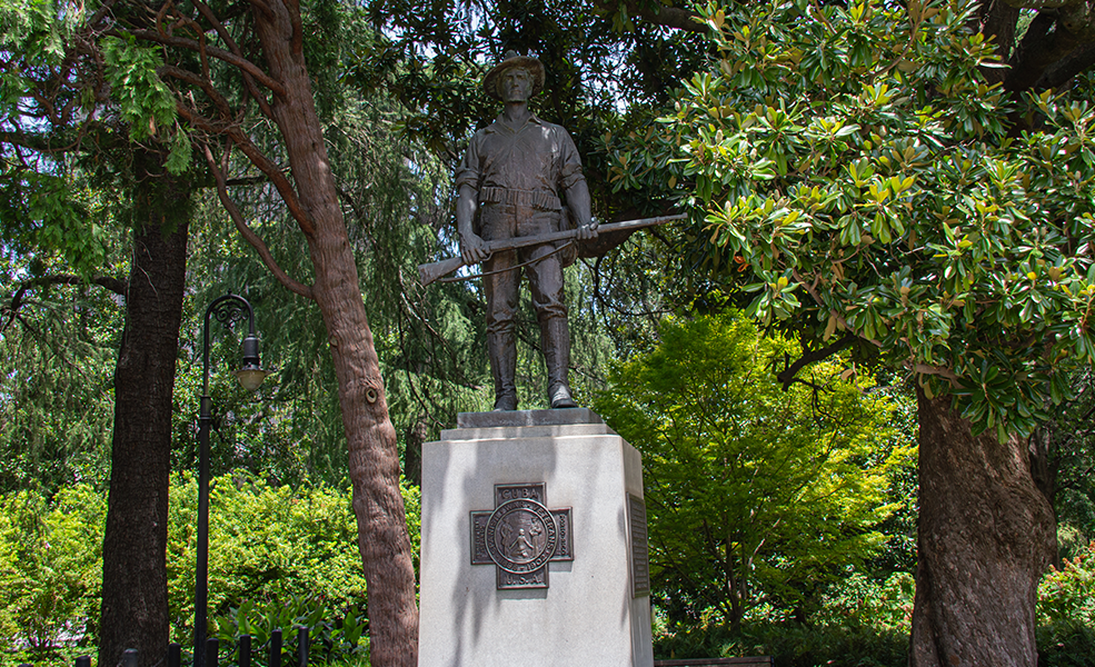 Spanish-American War Veterans Monument, 2019. This image shows the West plaque, the Spanish War Veterans insignia.