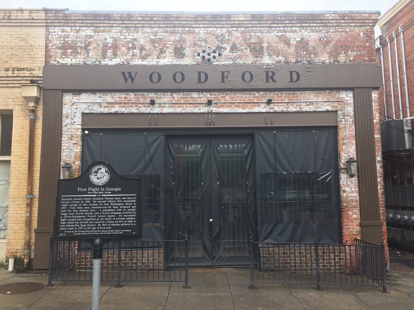Westernmost portion of Epps' garage on East Washington Street, is now a bar named The Woodford