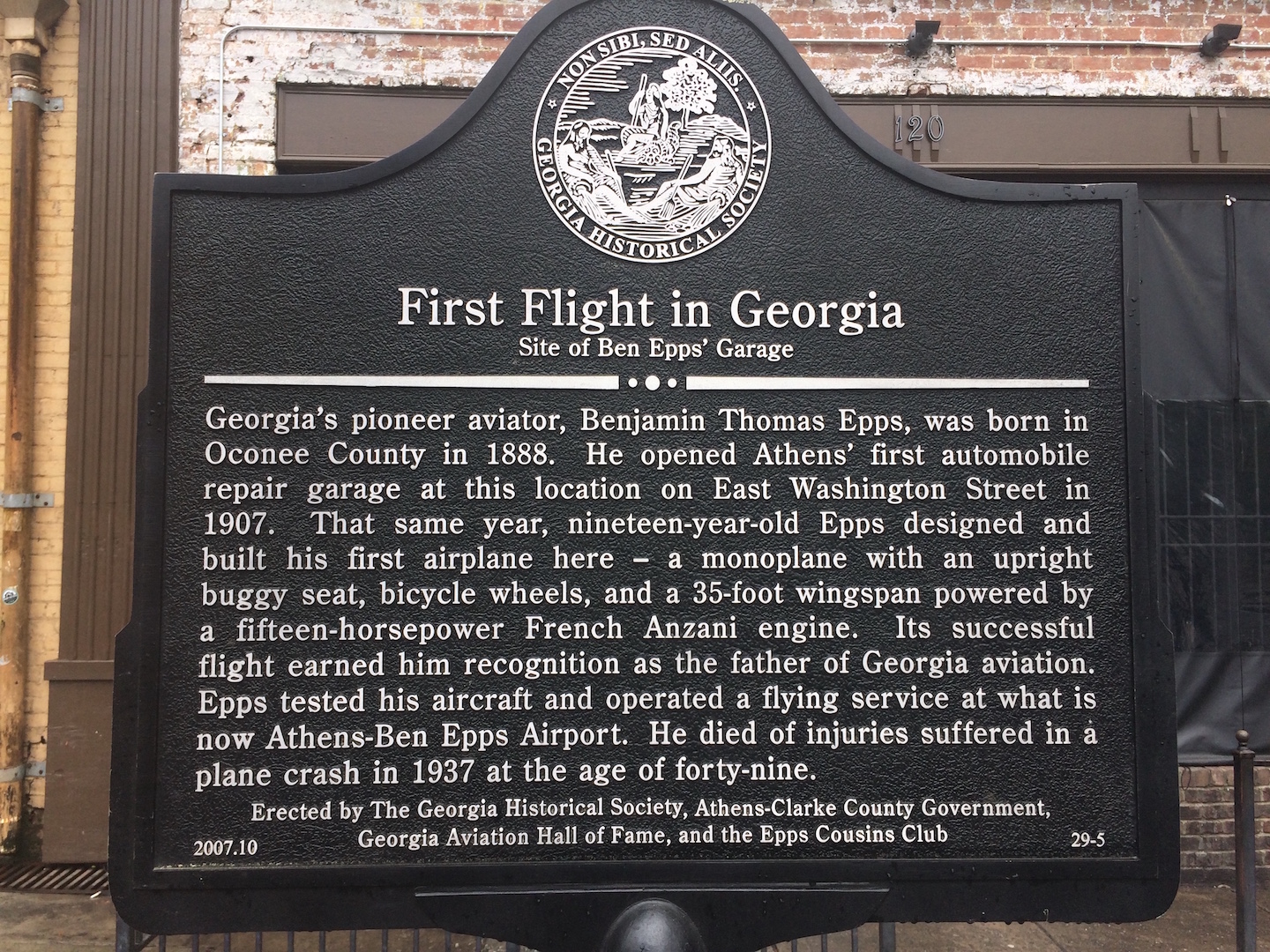 Georgia Historical Marker dedicated to his first flight