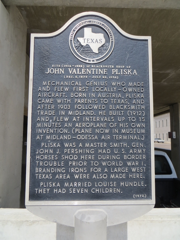 The historical marker describes Pliska's accomplishments and indicates where his blacksmith shop was once located.
