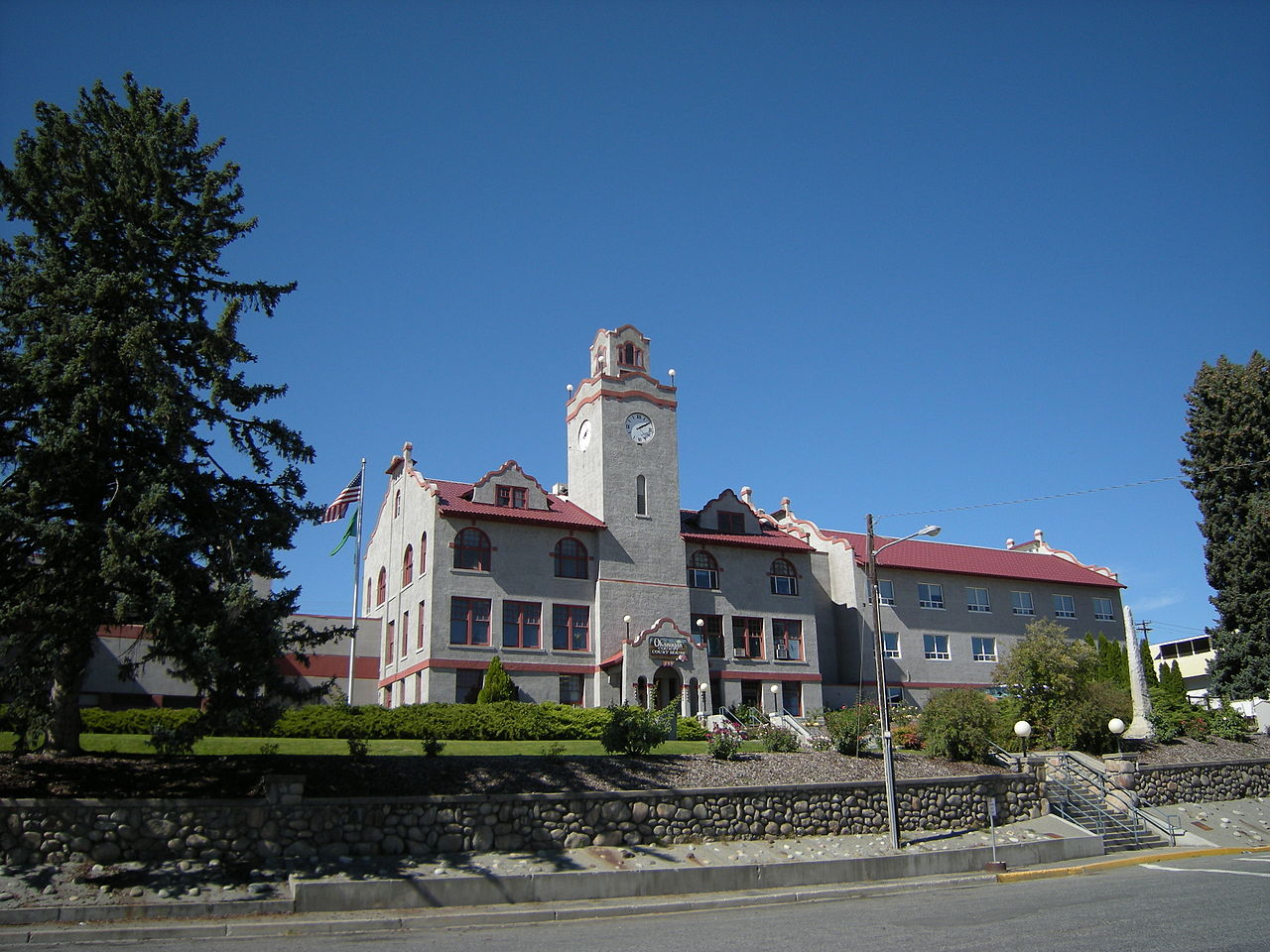 Okanogan County Courthouse was built in 1915 and is a fine example of Mission Revival architecture.