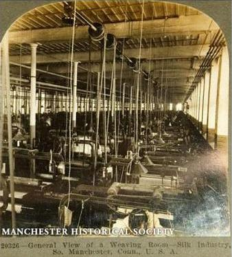 Inside the Cheney Brothers Silk Factory, early 20th century