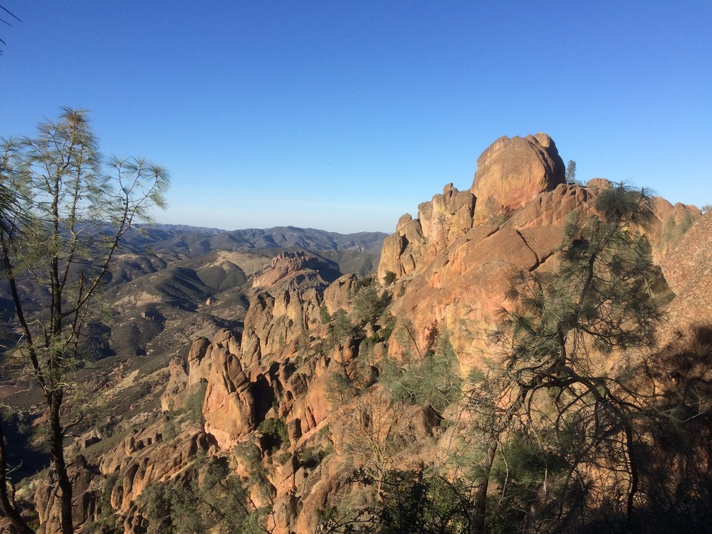 Pinnacles National Park features rock formations such as these, which draw many tourists each year.