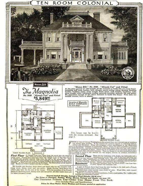 The floor plan of Flowerhill, via Sears and Roebuck. Circa 1920s.(https://i.pinimg.com/564x/a9/a9/bb/a9a9bb17c2b90813158c2538c0d6ef96.jpg)