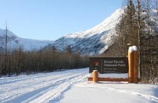Kenai Fjords National Park sign (photo credit: USDT Volpe Center at https://www.volpe.dot.gov/transportation-planning/public-lands/kenai-fjords-national-park-over-snow-transportation-feasibility)