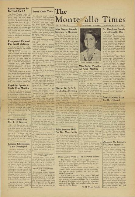 A page from The Montevallo Times, circa March 1947.