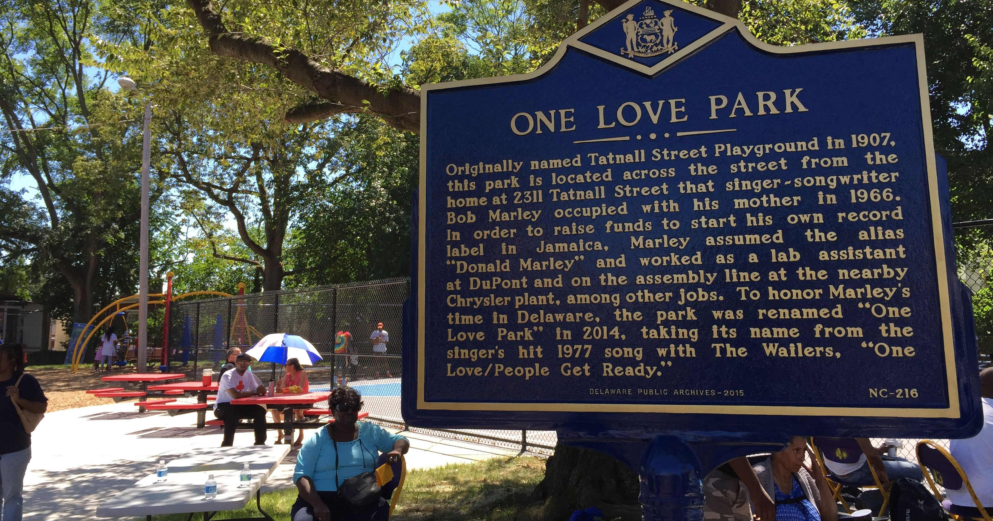 Historical marker at One Love Park