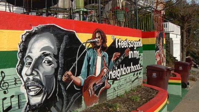 Detail of Bob Marley mural across the street from One Love Park