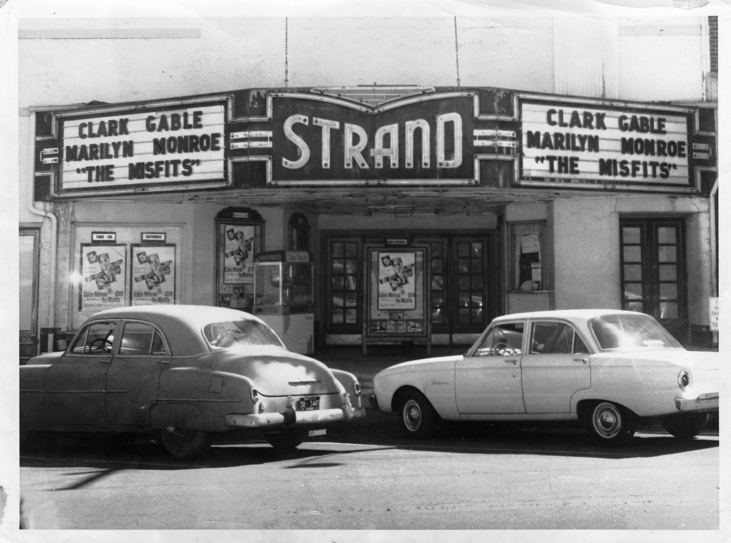 "The Strand Theatre c. 1961 showing ""The Misfits,"" famously the last completed film of both Gable and Monroe."