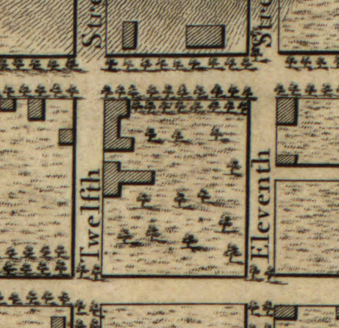 Block in 1797, showing location of Dunlap house