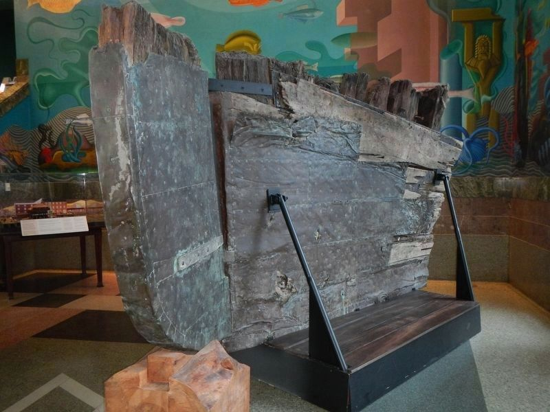 Remnants of the hull of the ship Niantic, on display at the San Francisco Maritime Museum