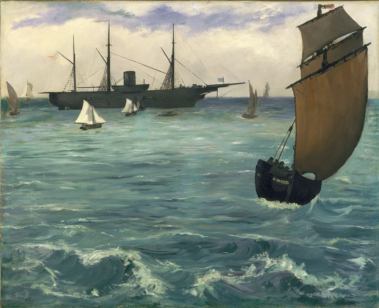 The Kearsarge at Boulogne is an 1864 painting by Édouard Manet depicting the Union cruiser USS Kearsarge, victor of the Battle of Cherbourg over the rebel privateer CSS Alabama. The painting is owned by the Metropolitan Museum of Art. The USS Kearsarge was built with lumber supplied by Joseph Barnard.