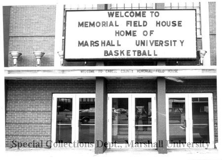 Front door view of Memorial Field House, circa 1972