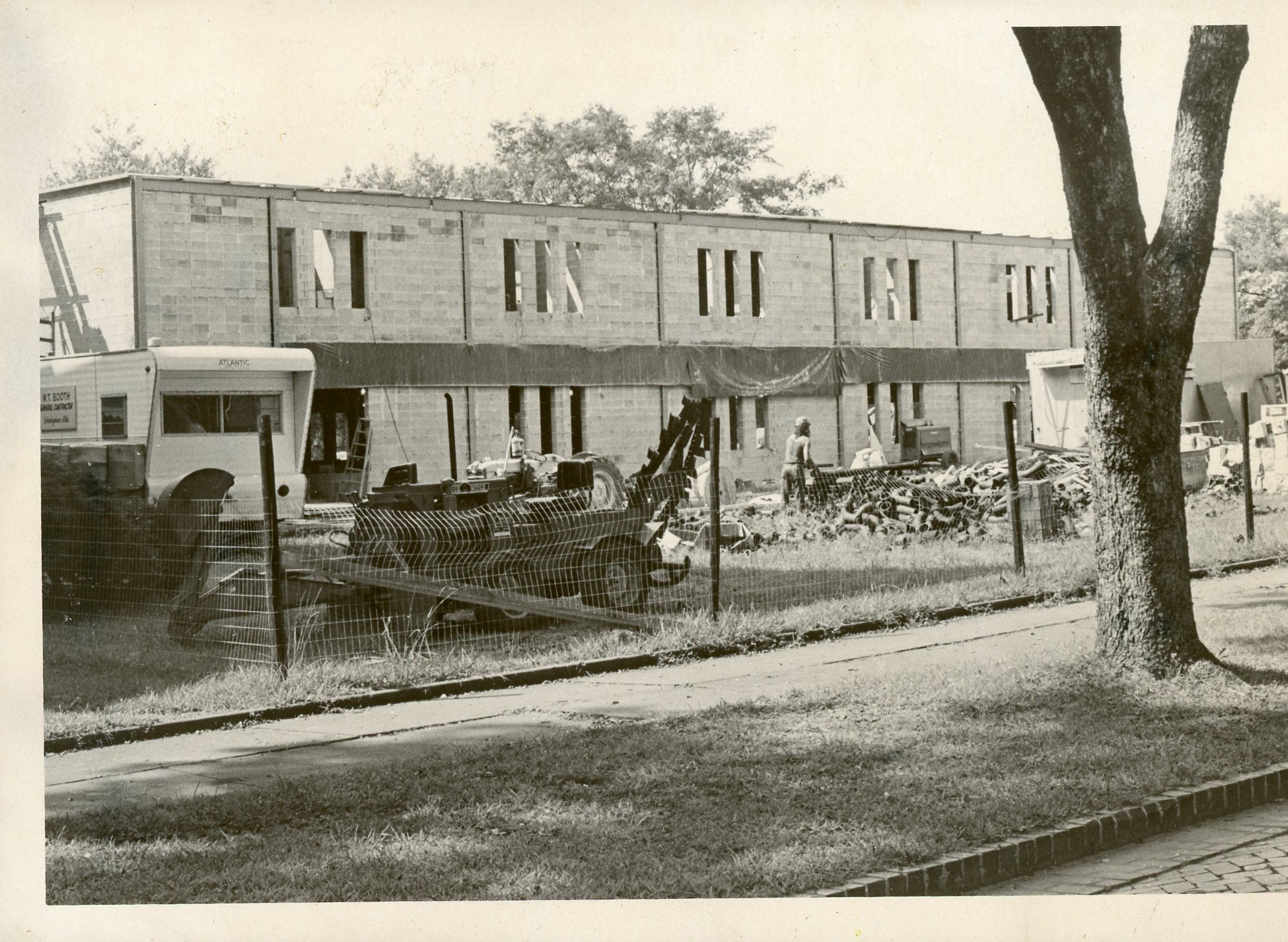 This image features Morgan Hall while it was under construction.