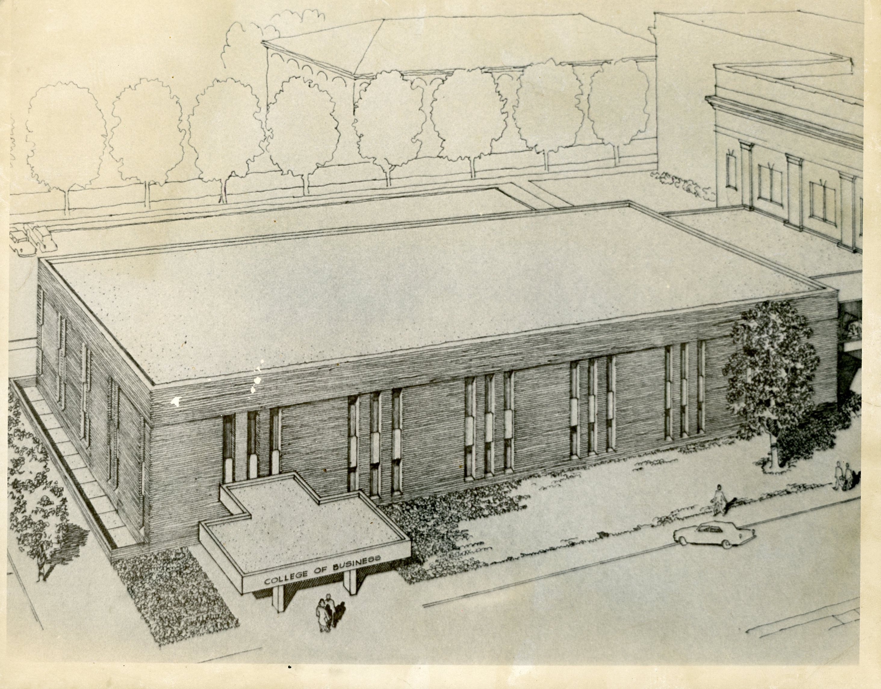 This image features an aerial drawing of Morgan Hall.